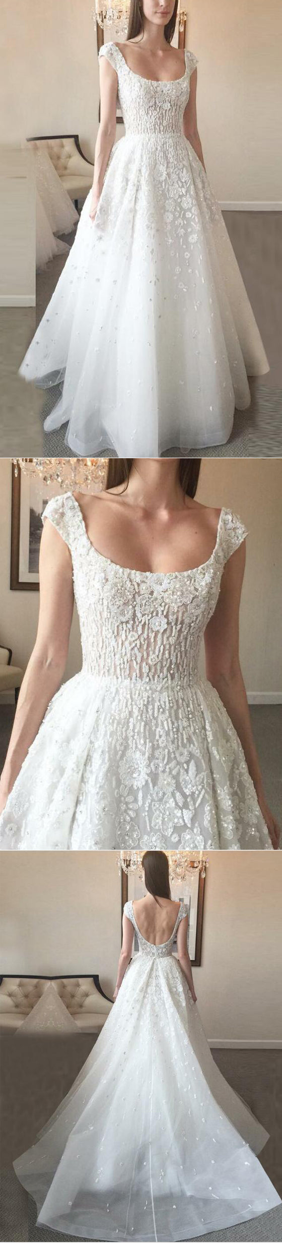 Cap Sleeve Simple Formal A Line Long Beach Wedding Dresses, BGP240 - Bubble Gown