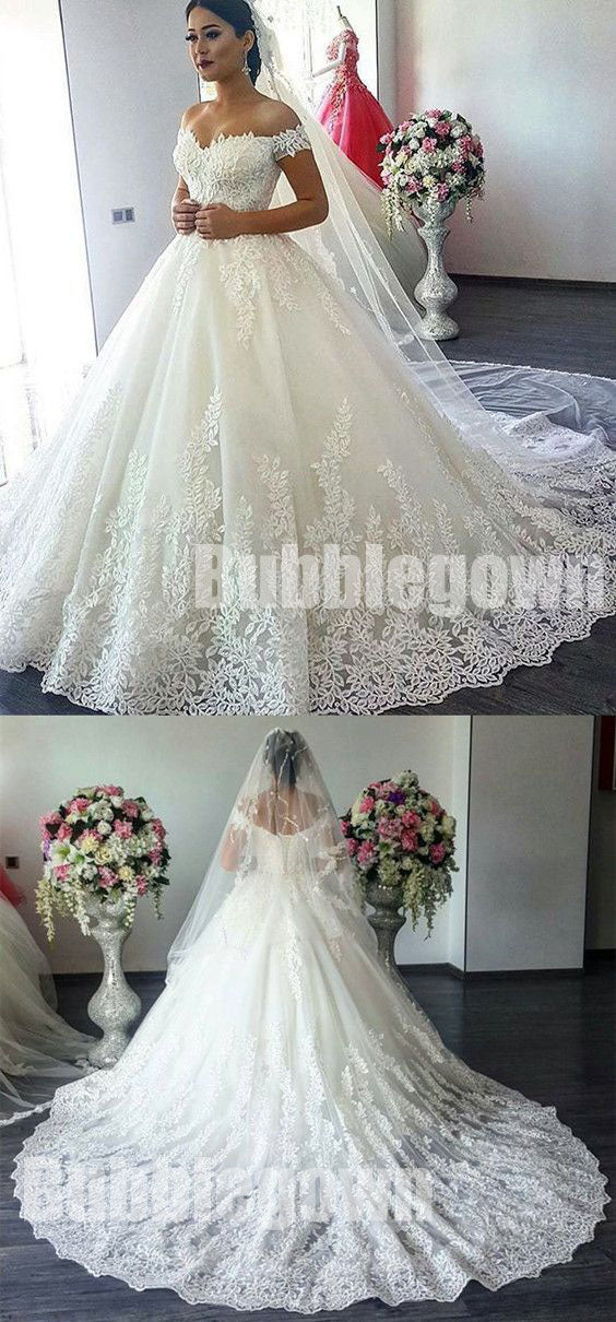 Charming Affordable Off the Shoulder Long Wedding Dresses, BGW003