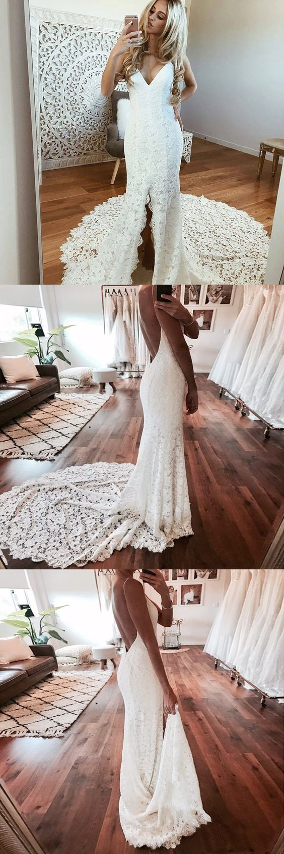 Sexy Mermaid Open Back Side Slit Lace Long Wedding Dresses, BGP036