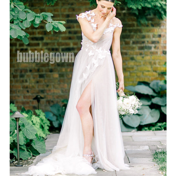 V-back Sleeveless Seen Through Applique Lace  Bridal Long Wedding Dresses, BGH003