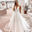 A Line Spaghetti Strap V-neck Charming Applique Long Wedding Dresses, BGH006