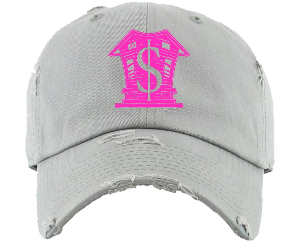 Grey and hot pink hat