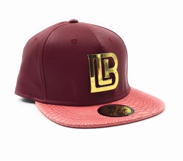 Burgundy/peach hat