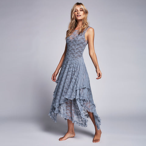 Asymmetrical embroidery Sheer lace dresses