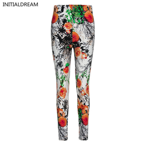 Flower Printed Fashion Slim Leggings