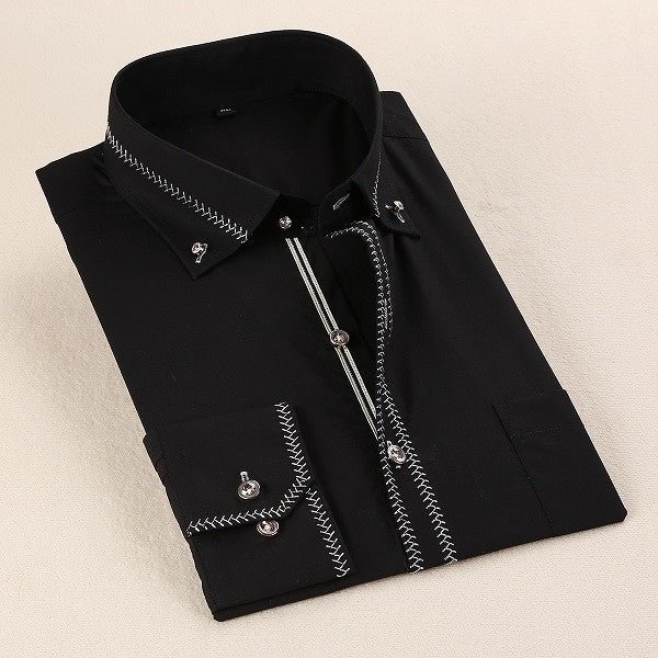 Long Sleeve Mens Dress Tuxedo Shirt