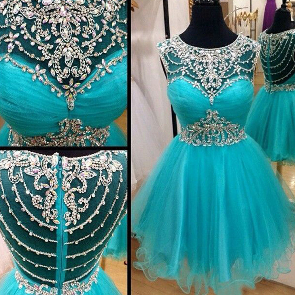 fb36a517480 Short blue rhinestones sparkly Boho Vintage casual homecoming prom dress