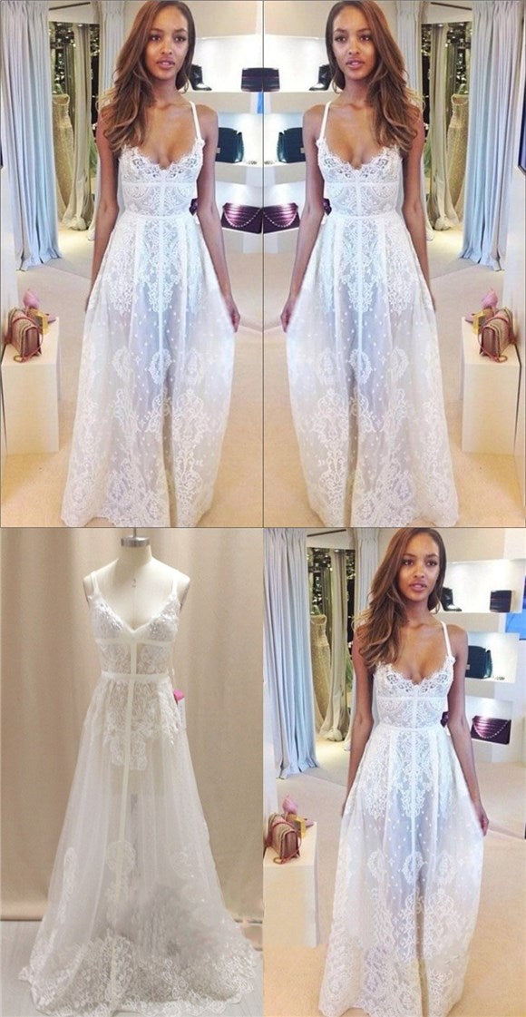 Lace Simple Prom Dress, Sexy Wedding Dresses, V-Neck High Quality Bridals Dress , PD0299