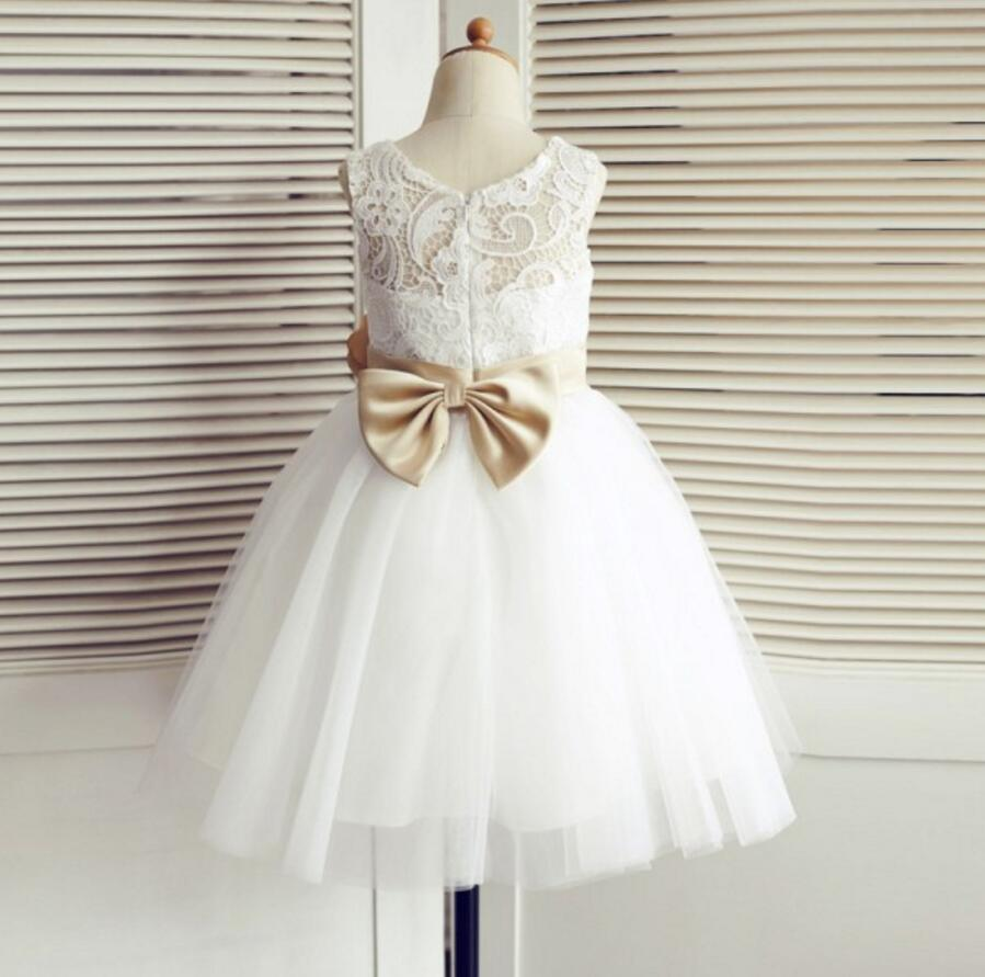 Tulle Lace Bowknot Sash Flower Girl Dresses, Lovely Tutu Dresses, FGS010