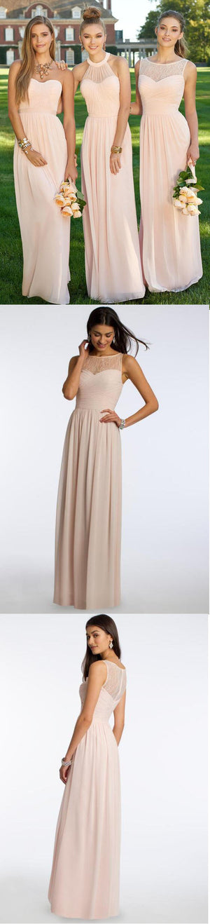 Mismatched Chiffon Blush Pink Modern Formal Floor-Length Cheap Bridesmaid Dresses, WG103