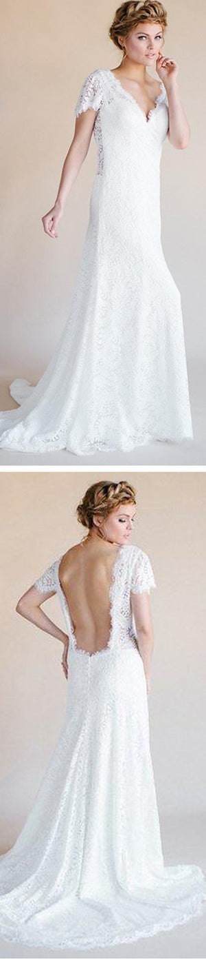V-neck Cap Sleeve White Lace Long Sheath Sexy Backless Wedding Party Dresses, WD0105