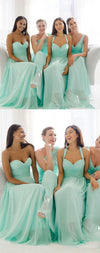 Mismatched Mint Chiffon Different Simple A Line Formal Floor-length Bridesmaid Dresses, WG109