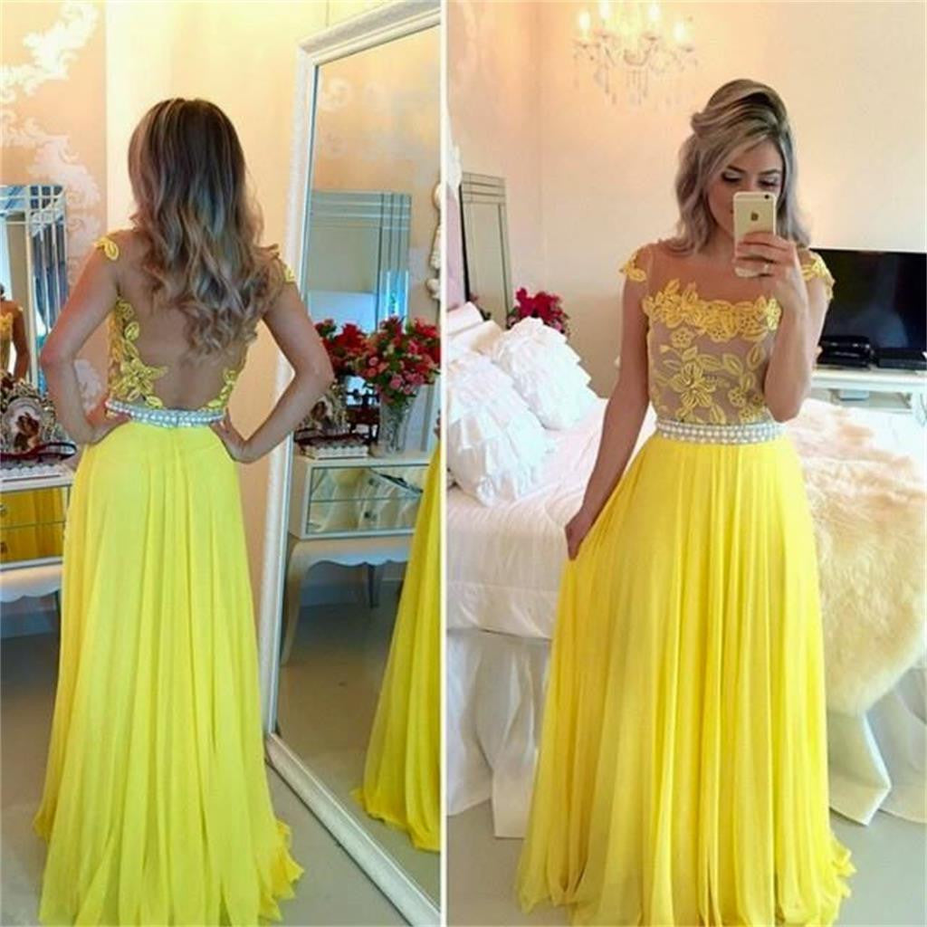 Long Yellow See-through Backless Cheap Chiffon Formal Evening Prom Dress , PD0269