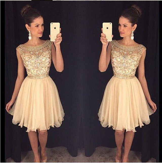 Cheap beaded See through Sexy homecoming prom dresses, CM0011