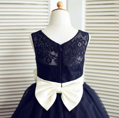 Navy Blue Tulle Lace Bowknot Sash Flower Girl Dresses, Lovely Tutu Dresses, FGS011