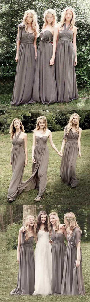 Junior Popular Convertible Chiffon Gray Cheap Long Bridesmaid Dresses Wedding Party, WG111
