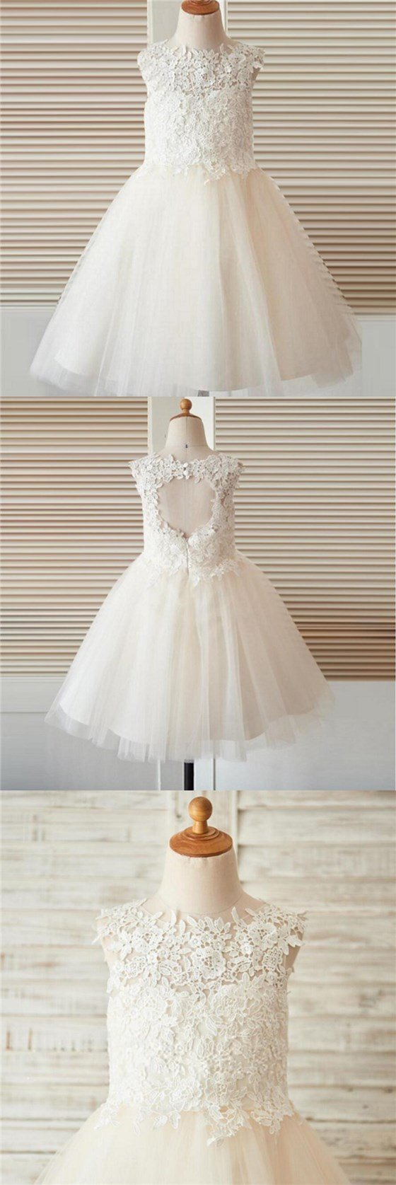 Open Back Top Lace Flower Girl Dresses for 2018 Wedding , Best Sale Junior Bridesmaid Dresses, FG094