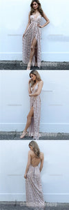 Soft Sequin Sparkly Sexy Side Slit V Neck Long Fashion Backless Spaghetti Straps Prom Dresses, PD0453