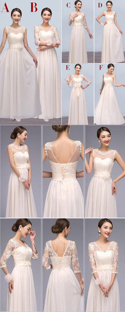 Mismatched Chiffon Lace Charming Long Different Styles Cheap Floor-Length Bridesmaid Dresses, WG121