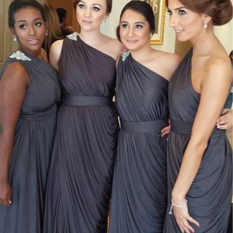 Pleating Chiffon One Shoulder Dark Grey Floor Length Simple Elegant Bridesmaid Dresses, WG129