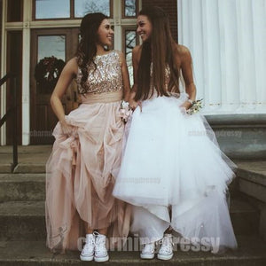 Sequin Sparkly Gorgeous Tulle Formal Real Made Pretty Lovely Custom Party Prom Dresses, PD0454