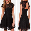 Short sleeve black see through lace simple open back tight homecoming prom dress,BD00130