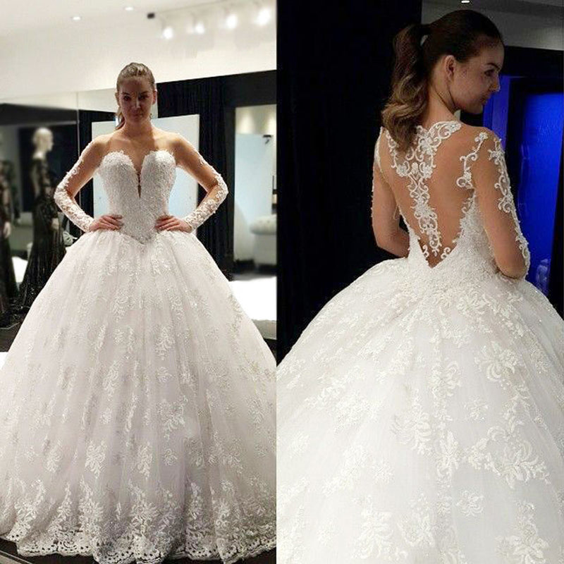 Cheap Stunning Scoop Neck Long Sleeve Lace Ball Gown Wedding Dresses, WD0136