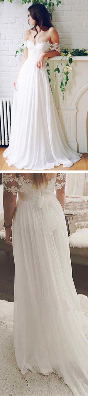 Popular Off Shoulder Long A-line White Chiffon Sexy Lace Wedding Dresses, WD0138