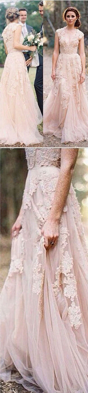 2019 Charming Pink Lace Sexy V-neck Long Sheath Tulle Wedding Party Dresses, WD0139