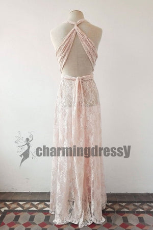 Full Pink Lace Convertible Simple Beautiful Prom Dresses, Wedding guest dresses, PD0354