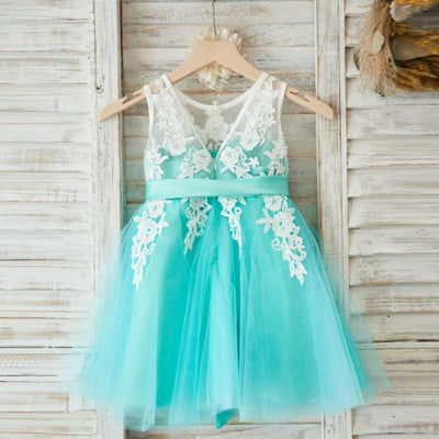 Lovely Tulle Applique Flower Girl Dresses, V Back Little Girl Dresses, FGS014