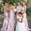 One Shoulder Mermaid Sexy Pink Long Bridesmaid Dresses with Handmade Flowers, WG143
