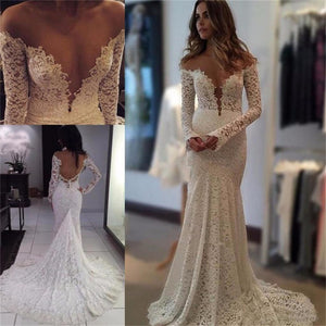 Custom Lace Long Sleeves Newest Wedding Dresses, Popular Best Sales Bridal Dress with train, PD0300