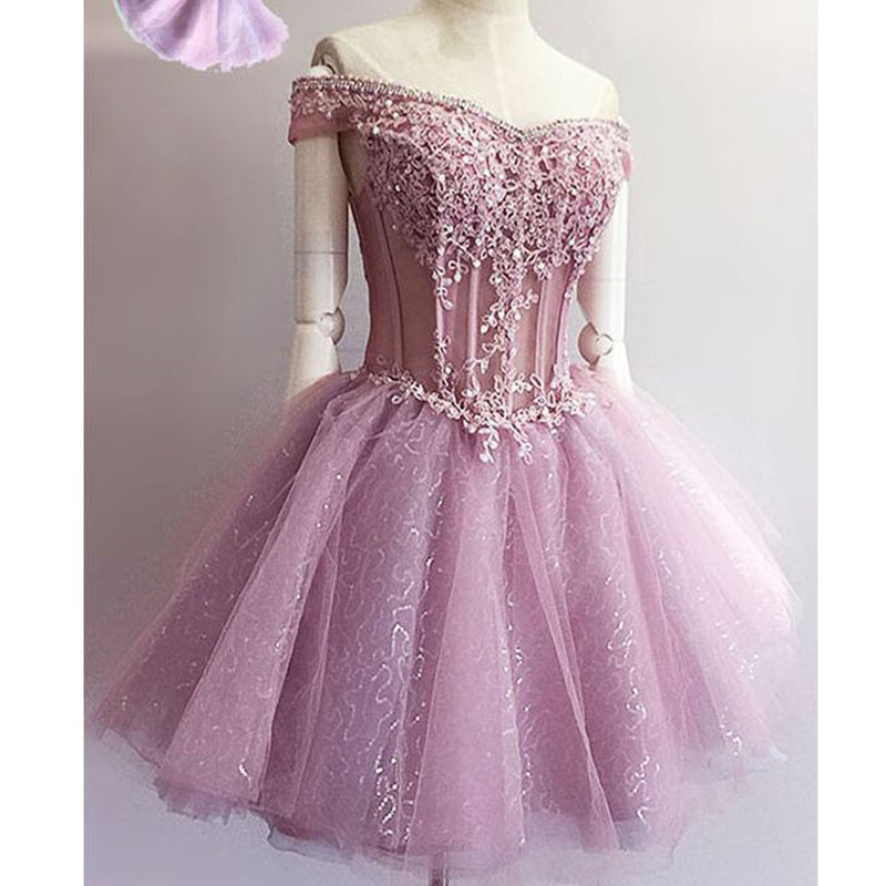 Purple off shoulder see through charming unique style homecoming prom gown dresses, BD00150