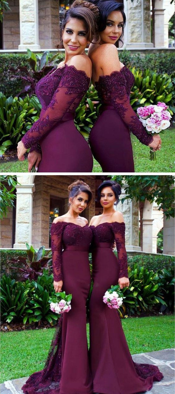 2019 Sexy Mermaid Long Sleeve Lace Long dark Burgundy Bridesmaid Dresses with Small Train ,WG153