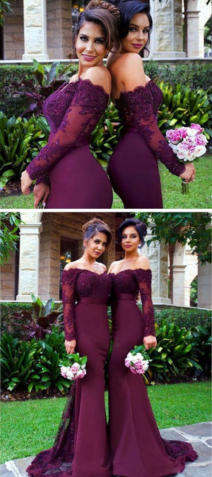 Sexy Mermaid Long Sleeve Lace Long dark Burgundy Bridesmaid Dresses with Small Train ,WG153