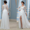 Simple Design Long Sleeve Sheath Side Slit White Chiffon Lace Wedding Dresses, WD0155