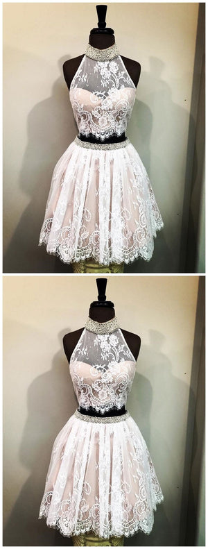 Cheap Halter Two Piece Cute Lace Homecoming Dresses 2018, CM497