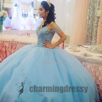 Blue Fashion Off Shoulder Custom Free Prom Dresses, Evening Dresses, Gorgeous Stunning Prom Gowns, PD0488