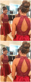 Sexy Two Piece Short Rhinestone Cute Red Homecoming Dresses 2018, CM484