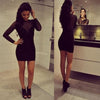 Long sleeve black see through tight sexy charming simple homecoming prom dress,BD0016