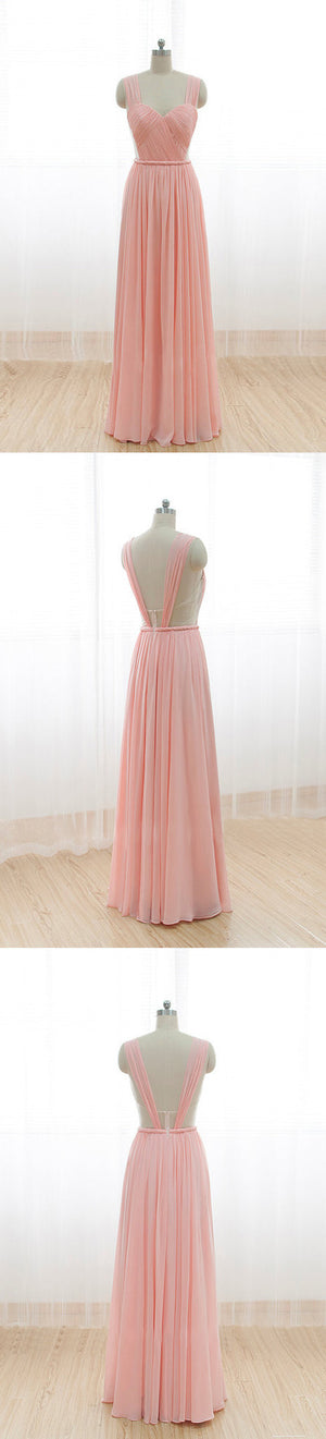 Cheap Junior Long Chiffon Pink Off Shoulder Sweet Heart Open Back Bridesmaid Dresses, WG21