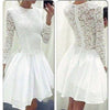 Long Sleeve White lace tight special Rehearsal homecoming prom dresses, BD00175