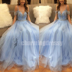 Blue Tulle Off Shoulder A-Line Beautiful Prom Dresses, Evening Dresses,  Beaded Sparkly Prom dress, PD0487