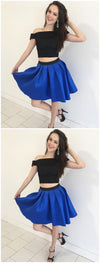 Cheap Short Simple Cute Two Piece Homecoming Dresses 2018, CM483