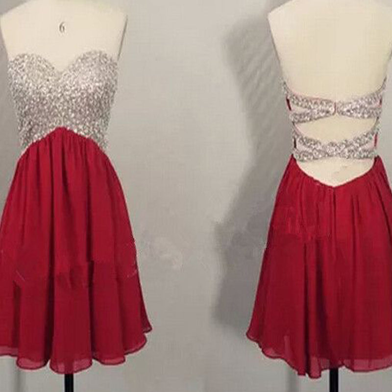 Popular sweetheart sparkly open backs sexy for teens party homecoming prom dresses, BD00183