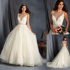 Long A-line See Through V-neck Sleeveless Lace Tulle Wedding Dresses, WD0186