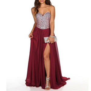 Burgundy Chiffon Sparkly  Sweetheart Side Slit Prom Dress ,Party Dress , Cocktail Dress , PD220