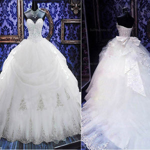 Luxury Sweetheart Silver Lace Wedding Party Dresses, Corset Lace Up Bridal Gown, WD0018
