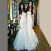 Gorgeous White Tulle Mermaid Long Bridesmaid Dress , Cheap Simple Long Wedding Dress, WG195